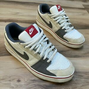 Nike Mens Ruckus Low 395770-100 Red Gray Skateboarding Shoes Size 10.5