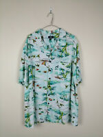 RETRO MENS GEORGE HAWAIIAN SHIRT SIZE 2XL WHITE BLUE FLORAL 100% RAYON CLASSIC