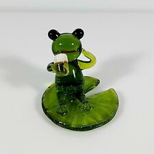 Green Frog Hand Blown Glass Drinking Beer on Lotus Leaf Animal Gift