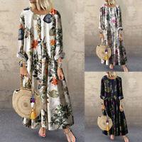 Women Bohemia Floral Print Pleated Summer Long Sleeve Maxi Shirt Dress Plus Size