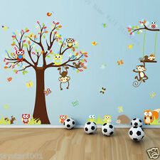 Kids Wall Stickers Cute Woodland Animals Owls, Monkey,Squirrel, Fox and Hedgehog