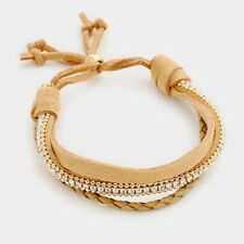 Celeb Gold Beige Genuine Suede Crystal layered  Bracelet By Rocks Boutique