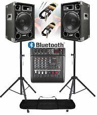 IMPIANTO AUDIO AMPLIFICATO 1400w: 2 casse + mixer attivo + stativi + 2 cavi