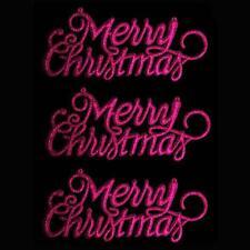 """Decoración de Navidad de 3 Paquete de brillo """"Feliz Navidad"""" signos-Cerise"""