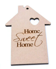 5 x MDF Wooden House Home Shapes Tags Engraved Home Sweet Home Craft Blanks