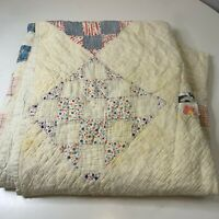 vintage quilt hand sewn square print white multi colored floral patches
