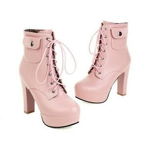 Grace Womens Punk Knight Block High Heel Lace Up Platform Round Toe Ankle Boots