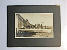 COLLEGE POINT NY River STEAMBOAT Dry Dock WORKERS Group Antique CABINET PHOTO
