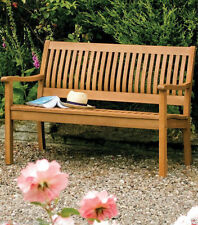 ROWLINSON HARD WOOD GARDEN BENCH TWO SEATER OUTDOOR SEATING HARDEWOOD PARK BENCH