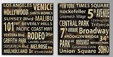 Cuadros Vintage sobre madera Luke Wilson 30 x 30 New York y Los angeles