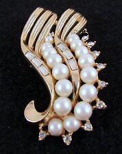 Vintage Crown Trifari Brooch Crystal Baguette Faux Pearls Rhinestone Gold Tone