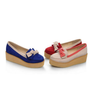 Womens Loafer Bowknot Platform Heel Casual Round Toe Pumps Flats Mary Jane Shoes