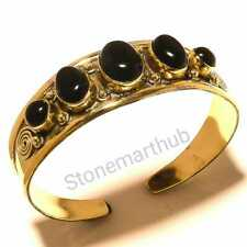Black Onyx Gemstone Brass Cuff Brass Bracelet Brass Bangle Handmade Jewelry