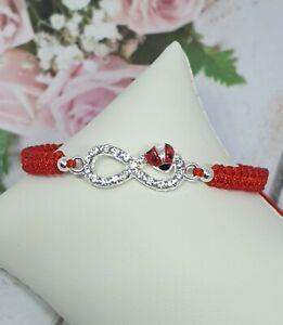 Handmade Bracelet Red Nylon Cord  Bracelet with Silver Infinyte Love Charm Gift