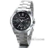 Fashion Stainless Steel Black Dial Luxury Sport Analog Quartz Mens Wrist Watch