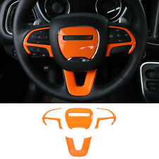 4× Orange ABS Steering Wheel Decorative Cover For Dodge Challenger Charger 2015+