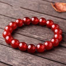 Handmade 12mm Natural Red Jade Gemstone Stretchy Bangle Bracelet 7.5'' AAA