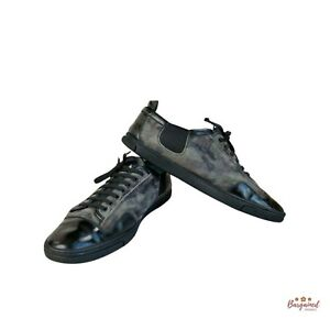 Authentic Louis Vuitton Camouflage Suede Black Leather Slalom Low Top Sneakers