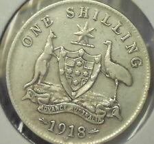 1918 Fine Australian Silver ONE Shilling 1/-(Shilling) KING GEORGE V  Very Nice