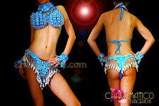 CHARISMATICO Blue jeweled Brazilian costume set with silver bead work and fringe