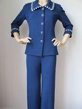 NWT St John Knit pant suit jacket size 4/6 blue marine santana wool rayon