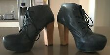 "Blue Leather STEVE MADDEN ""Crazie"" Almond Toe Platform Ankle Boots Size 8.5M"