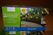 Solar LED Outdoor Landscape Pathway Light Classic Column Black 12 pack