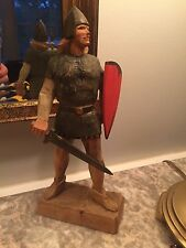 """Vintage Henning Norway Hand Carved 10"""" tall Viking Man w/ Shield & Sword"""