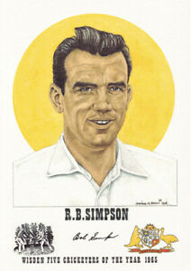 BOB SIMPSON - Wisden Cricketer of the Year 1965 Print - GENUINELY AUTOGRAPHED