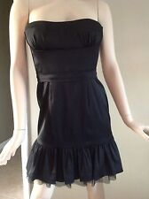 Bcbg Maxazria Black Satin Corset Mini Bubble Dress w/ Ruffled & Mesh Trim Size 8