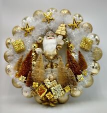Joyful Golden Santa Clause Christmas Ornament Wreath