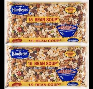 Lot 2 Bags Hurst's Hambeen 15 Bean Soup w/ Seasoning 20oz  FREE SHIP