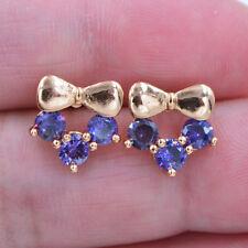 18K Yellow Gold Filled Women Girls Cute Bowknot Purple Topaz Stud Earrings