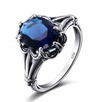 Wedding Jewelry Sapphire Crystal Ring 925 Sterling Silver Women Vintage Rings