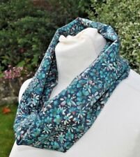 Infinity Scarf in Liberty Tana Lawn cotton 'Eleonora' blue red meadow flowers