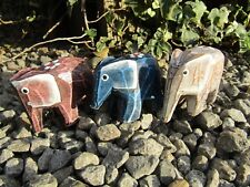 More details for fair trade hand carved made wooden elephant flower animal statue set of 3