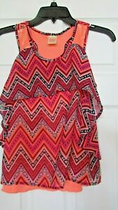 Girls Faded glory L 10/12 argyle orange sleeveless sequins layered top blouse