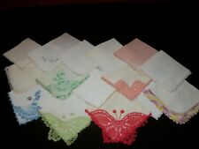 Lot of 16 Vintage Crochet or Lace Corner Design Hankies Handkerchiefs