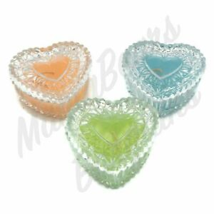 Set Of Three Glass Heart Shaped Covered Candles Blue, Peach, Green