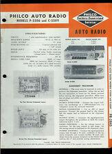 1954 Philco P-5506 C-5509 Mopar 832 835 Automotive AM Radio Service Manual