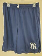 0724 Mens Majestic NEW YORK YANKEES Jersey Polyester SHORTS Blue New w/Pockets