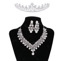 Wedding Crystal Statement Necklace Earring Tiara Jewelry Set Accessories