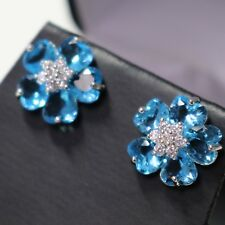 Handmade Blue Aquamarine Earrings Flower 14K White Gold Plated Gift Nickel Free