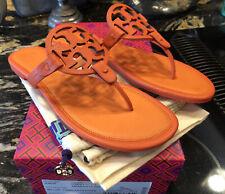 New Tory Burch Miller Tumbled Leather Poppy Red/Aragosta Sandal Sz 9.5 9 1/2 M