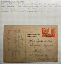1945 Liberated POW OFlag XC Poland Stationery Postcard cover To London England