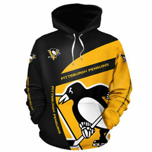 PITTSBURGH PENGUINS Hoodie Hooded Pullover zipper S-5XL Ice Hockey Team Fans NEW