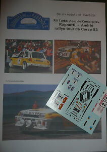 MC43 DECAL ADD 1:43 - RENAULT 5 turbo - RAGNOTTI - TDC RALLYE TOUR DE CORSE 1983