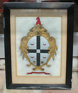 Vintage Sketch Coat of Arms 'Dum Spiro Spero' by J Jordan 1922