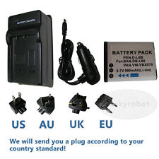Battery+charger for Sanyo DBL80 DB-L80 Pentax D-LI88 Optio H90 P70 P80 W90 WS80
