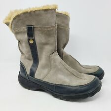 Clarks Womens Gray Suede Mid Calf Faux Fur Lined Winter Boots 63061 Sz 9M EUC